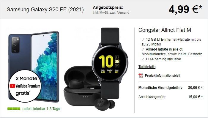 Samsung Galaxy S20 FE (2021) + Samsung Galaxy Watch Active2 (44mm) + JBL Tune 115TWS + congstar Allnet Flat M bei LogiTel
