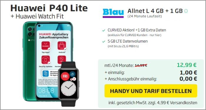 Huawei P40 Lite Blau Allnet Xl Curved