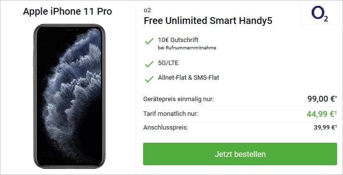 iPhone 11 Pro mit o2 Free Unlimited Smart bei DeinHandy