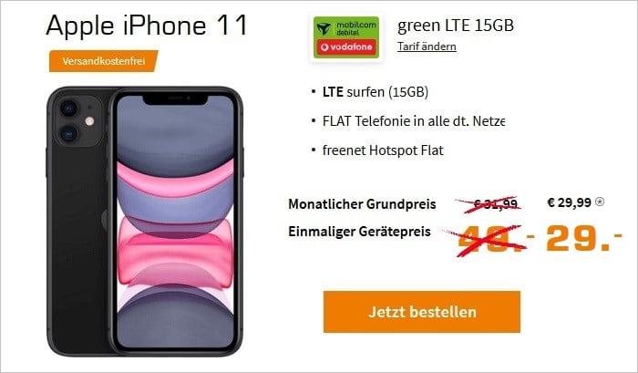 iPhone 11 mit md green LTE 15 GB im Vodafone-Netz bei Saturn