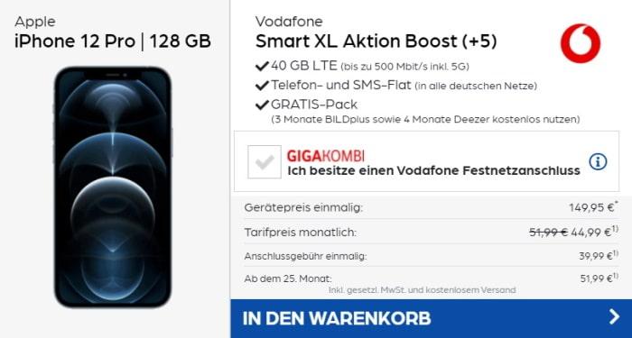 iPhone 12 Pro + Vodafone Smart XL bei Preisboerse24