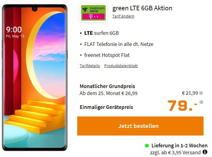 LG Velvet green LTE 6GB Aktion bei Saturn