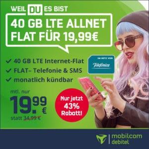 40 GB LTE nur 19,99 € (md green LTE)