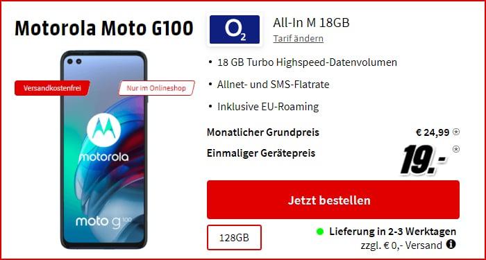 Motorola Moto G100 + o2 All-In M bei MediaMarkt
