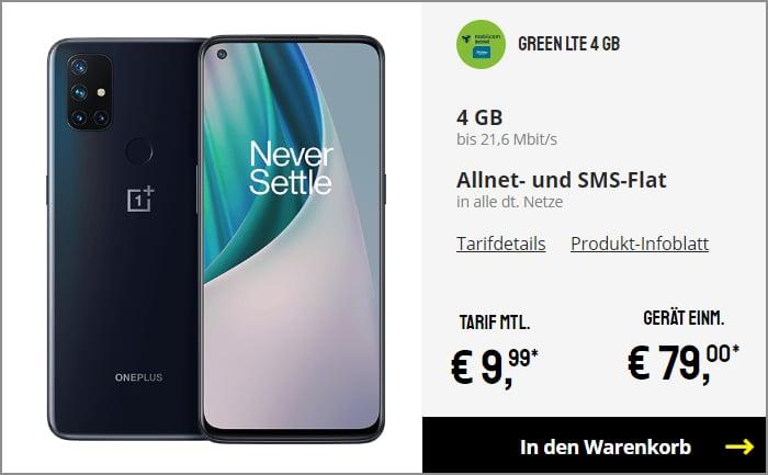 OnePlus Nord N10 green LTE o2 Netz bei Sparhandy