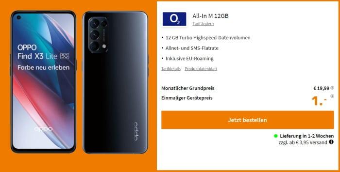 Oppo Find X3 Lite 5G + o2 Blue All in M mit Allnet-Flat und 12 GB LTE bei 19,99 € Grundgebühr