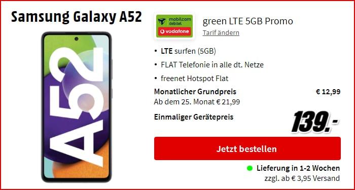 Samsung Galaxy A52 + mobilcom-debitel green LTE 5 GB LTE + Allnet-Flat im Vodafone-Netz