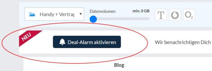 Deal-Alarm aktivieren bei Handyhase.de