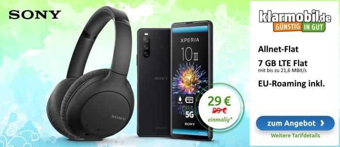 Sony Xperia 10 III + Sony Kopfhörer + klarmobil Allnet Flat (Vodafone-Netz) bei LogiTel