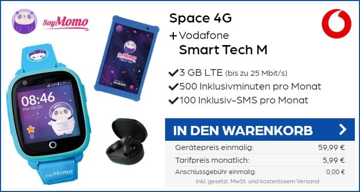 SoyMomo Space 4G Kindersmartwatch + Zugaben im Vodafone Smart Tech M bei Preisboerse24