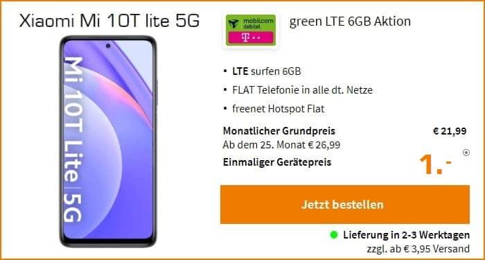 Xiaomi Mi 10T Lite 5G mit Allnet-Flat 6GB LTE bei mobilcom-debitel im besten Netz der Telekom.