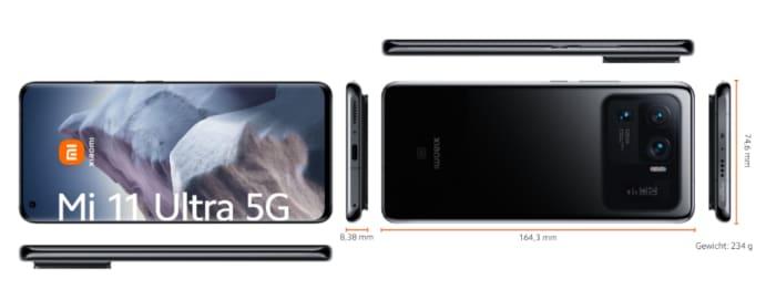 Xiaomi Mi 11 Ultra Maße im Vergleich