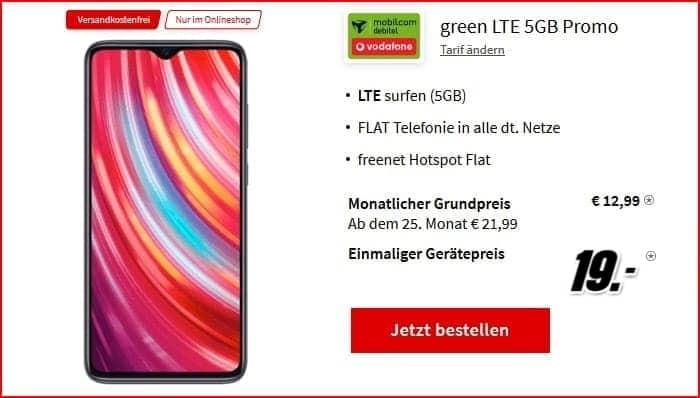Xiaomi Redmi Note 8 Pro mit mobilcom-debitel green LTE 5GB im besten Telekom-Netz
