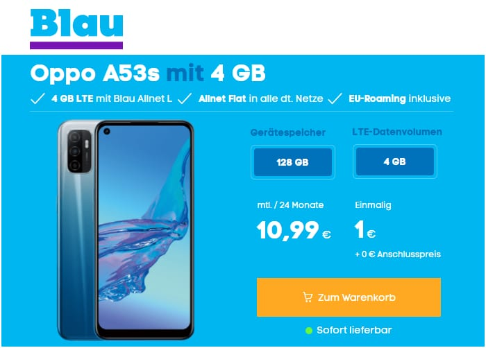 Oppo A53s mit Blau Allnet L (4 GB) bei Blau