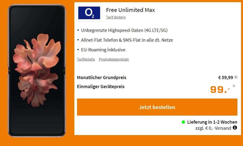 Samsung Galaxy Z Flip 5G + o2 Free Unlimited mit bis zu 500 MBit/s
