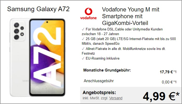 Samsung Galaxy A72 mit Vodafone Young M GigaKombi bei LogiTel