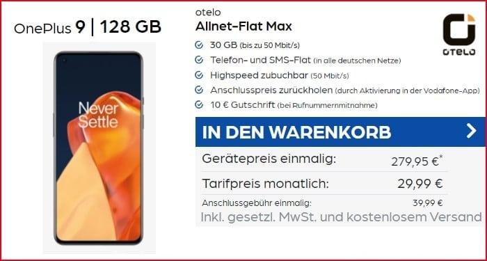 OnePlus 9 mit otelo Allnet Flat Max bei PB24 30 GB Aktion