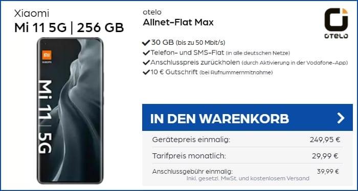 Xiaomi Mi 11 5G mit otelo Allnet-Flat Max 30 GB Aktion bei PB24