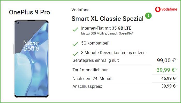 Vodafone Smart XL mit OnePlus 9 Pro bei DeinHandy