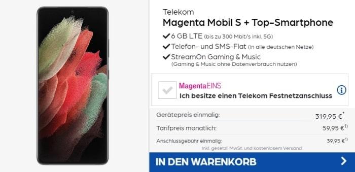 Samsung Galaxy S21 Ultra 5G mit Telekom MagentaMobil S bei Preisboerse24