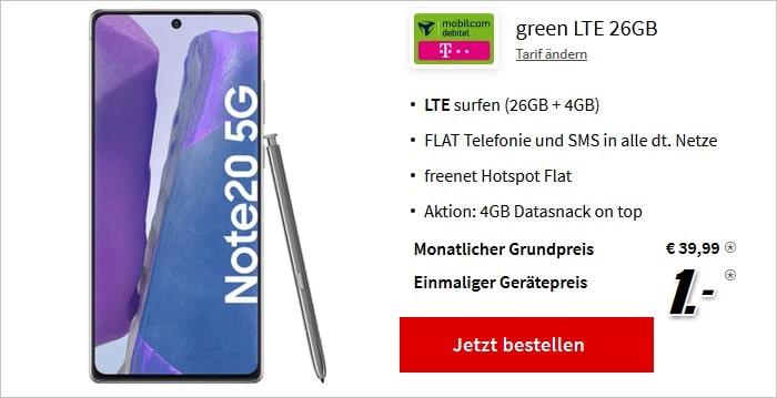 Samsung Galaxy Note20 5G green LTE 26+4 GB bei MediaMarkt