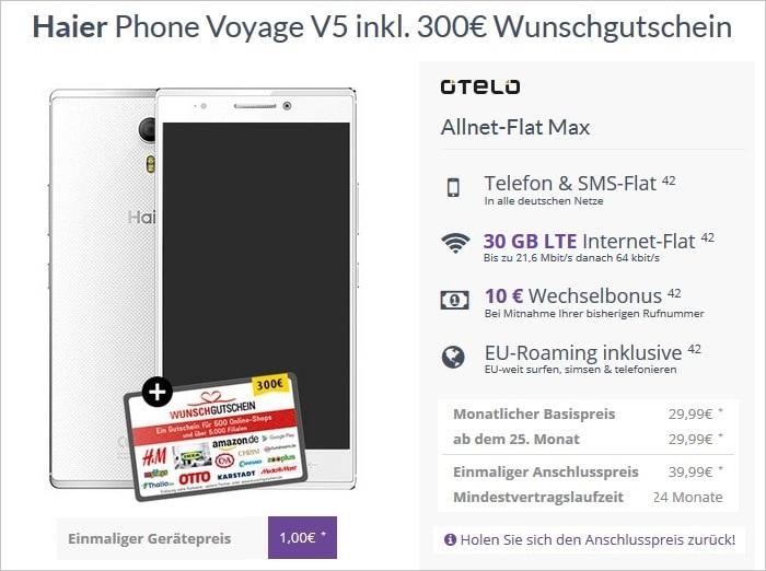 Haier Phone Voyage V5 mit Wunschgutschein zur Otelo Allnet-Flat Max 30 GB Aktion bei FLYmobile
