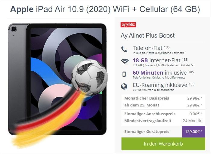 iPad Air (2020) LTE + Ay Yildiz Ay Allnet Plus Boost bei FLYmobile