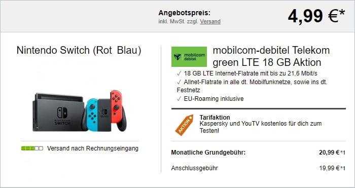 mobilcom-debitel green LTE (Telekom-Netz) + Nintendo Switch (2019) bei LogiTel