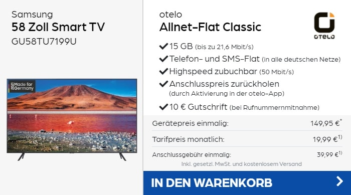 Samsung 58 Zoll 4K Smart TV + otelo Allnet Flat Classic bei Preisboerse24