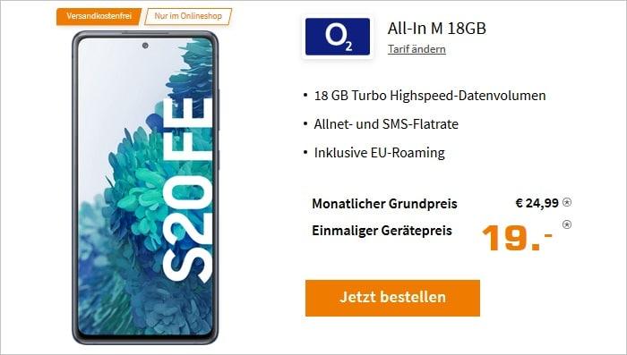 Galaxy S20 FE 256 GB mit o2 Blue All-In M 18 GB bei Saturn