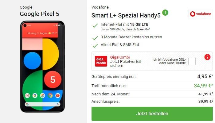 Google Pixel 5 mit Vodafone Smart L Plus bei DeinHandy