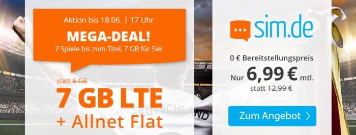 sim.de LTE All 6 GB Aktionstarif Juni 2021