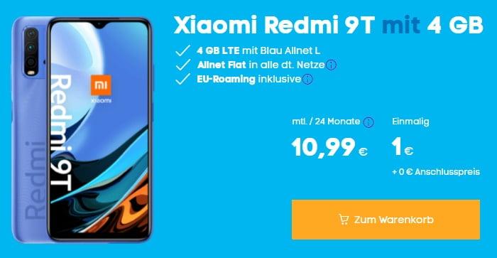 Xiaomi Redmi Note 9T 5G + Blau Allnet L bei Blau