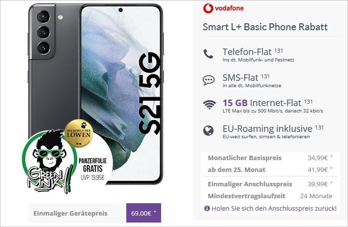 Galaxy S21 mit Panzerglas zum Vodafone Smart L Plus bei FLYmobile