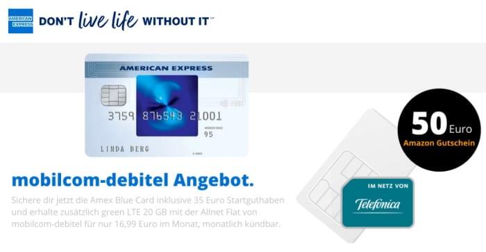 mobilcom-debitel green LTE 20 GB Flex inkl. AMEX & 50 € Amazon-Gutschein