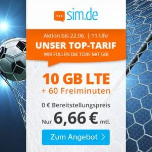 sim.de LTE 10 GB Aktionstarif Juni 2021 Thumbnail
