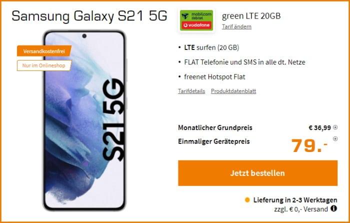 Samsung Galaxy S21 5G + mobilcom-debitel green LTE (Vodafone-Netz) bei Saturn
