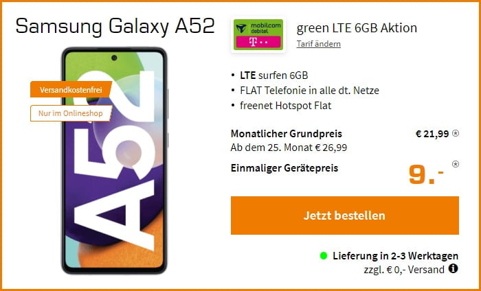 Samsung Galaxy A52 + mobilcom-debitel green LTE (Telekom-Netz) bei Saturn