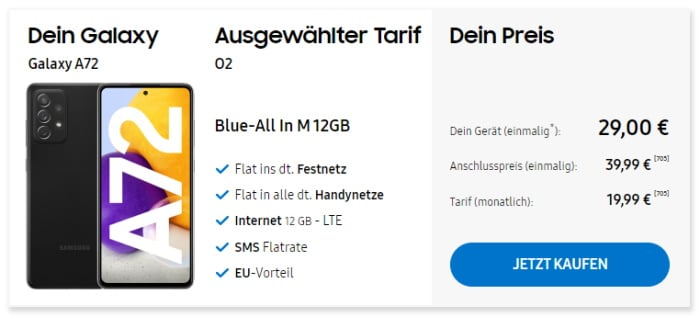 Samsung Galaxy A72 mit o2 Blue All in M im Samsung Online-Shop