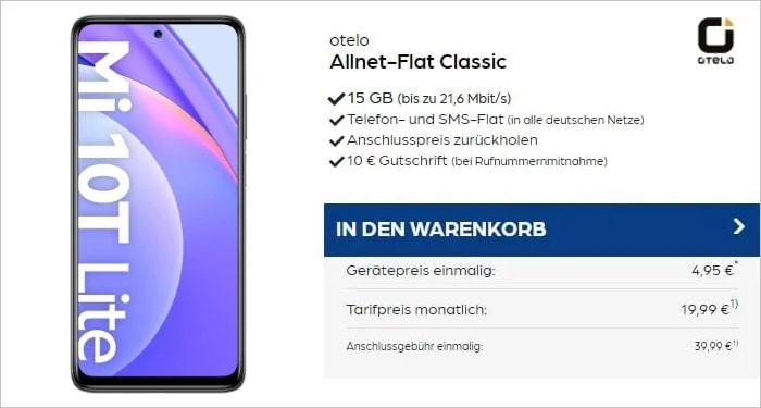 Xiaomi Mi 10T Lite mit otelo Allnet Flat Classic 15 GB Aktion bei Preisboerse24