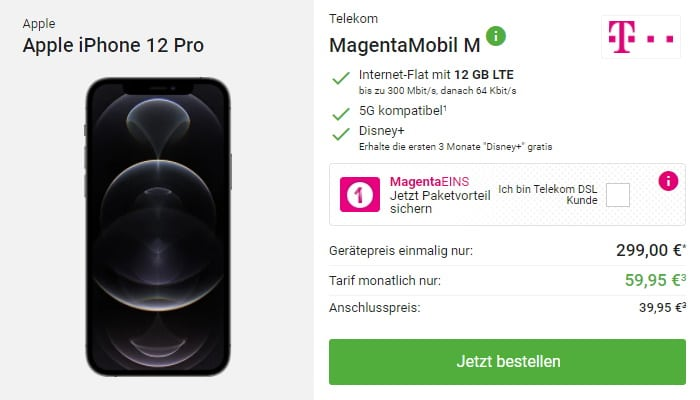 Apple iPhone 12 Pro mit Telekom MagentaMobil M bei DeinHandy