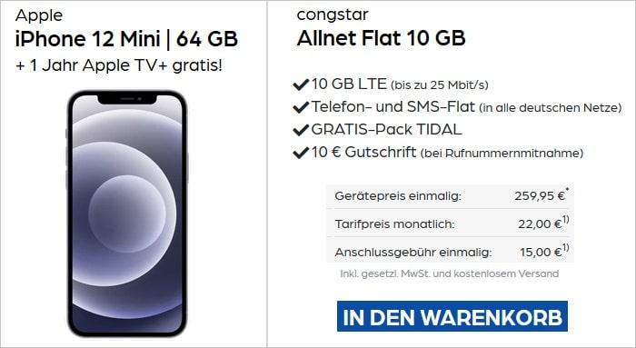 iPhone 12 mini mit congstar 10 GB bei Preisboerse24