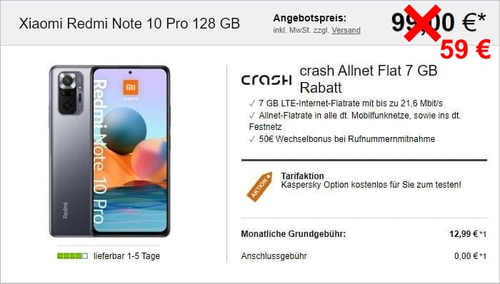 Xiaomi Redmi Note 10 Pro + crash Allnet Flat 7 GB im Vodafone-Netz bei LogiTel
