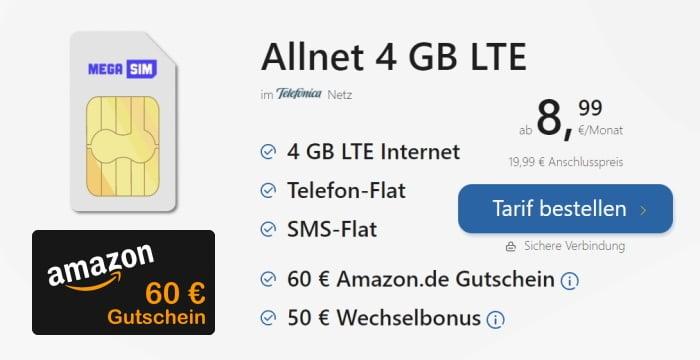 MegaSim LTE All 4 GB + 60 € Amazon-Gutschein bei Tariffuxx