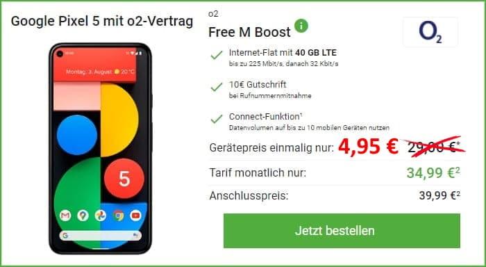 Google Pixel 5 + o2 Free M Boost bei DeinHandy