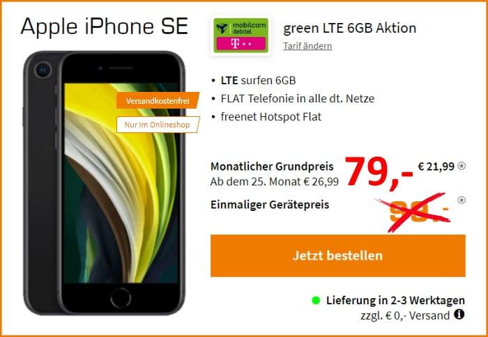 Apple iPhone SE (2020) + mobilcom-debitel green LTE im Telekom-Netz bei Saturn