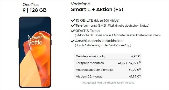 OnePlus 9 mit Vodafone Smart L Plus bei Pb24 AG Aktion
