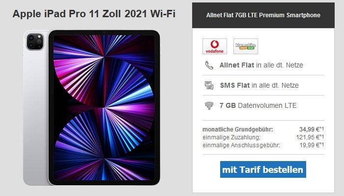 Apple iPad Pro 11 2021 WiFi zur klarmobil Allnet Flat 7 GB bei modeo