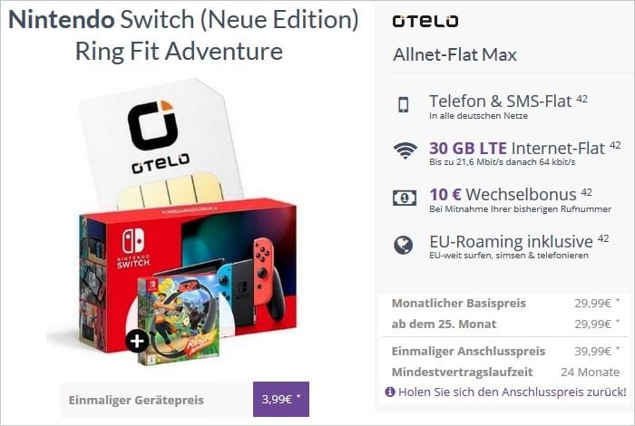 Nintendo Switch und Ring Fit Adventure mit Otelo Allnet-Flat Max bei FLYmobile