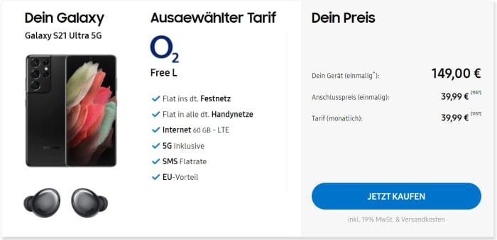 Samsung Galaxy S21 Ultra + Galaxy Buds Pro bei Samsung mit o2 Free L